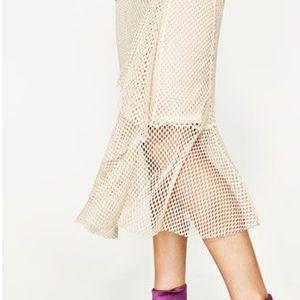 Zara Mesh Midi Skirt